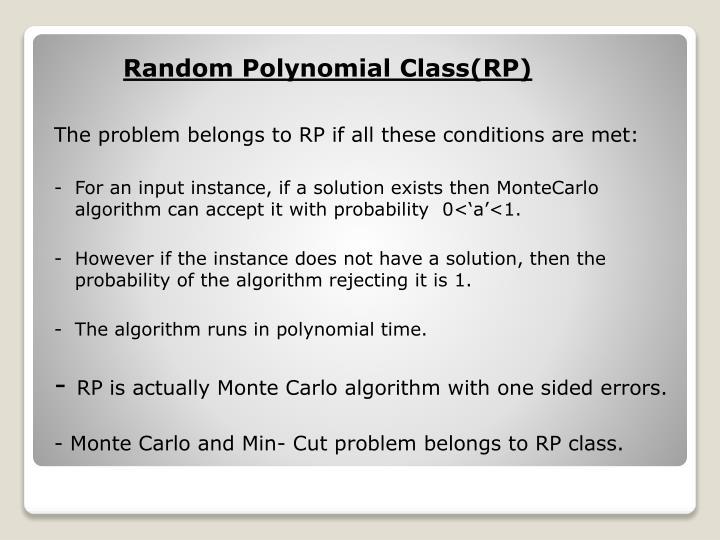 Random Polynomial Class(RP)