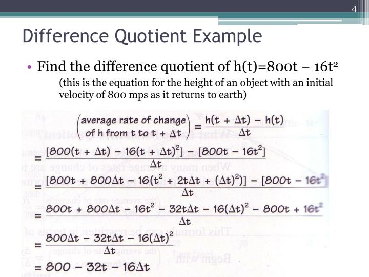 Difference Quotient Example