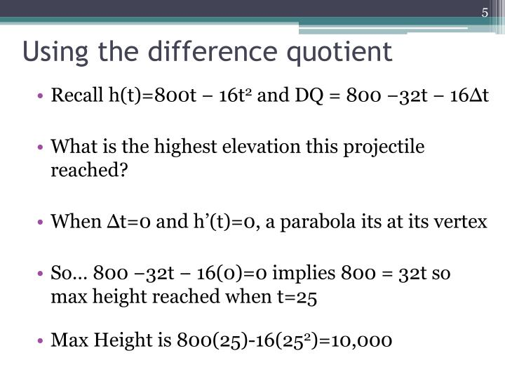 Using the difference quotient