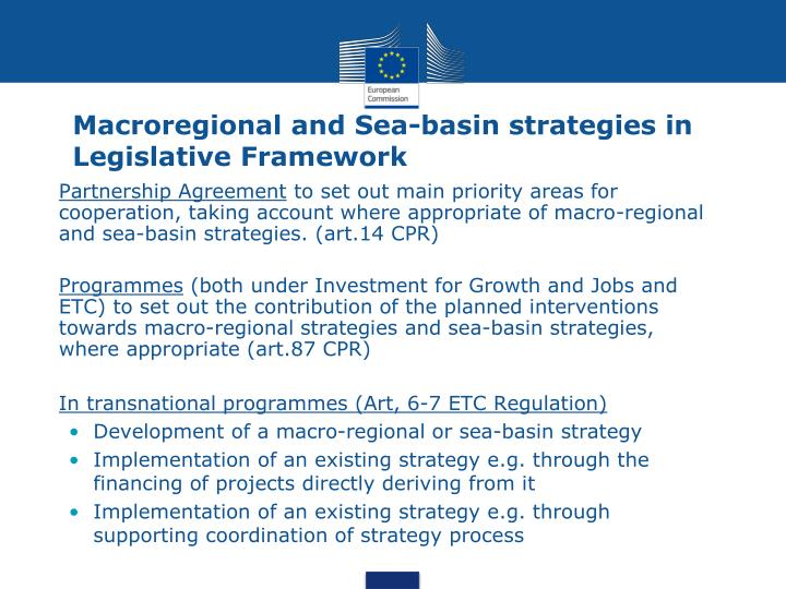 Macroregional and Sea-basin strategies in Legislative Framework