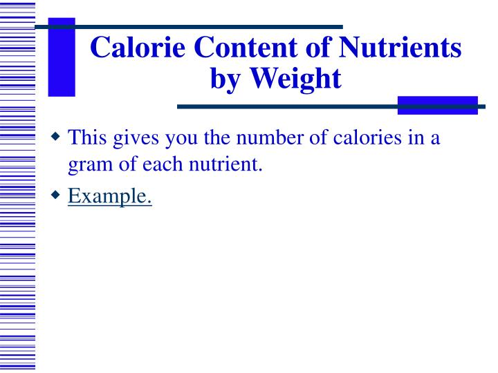 Calorie Content of Nutrients by Weight