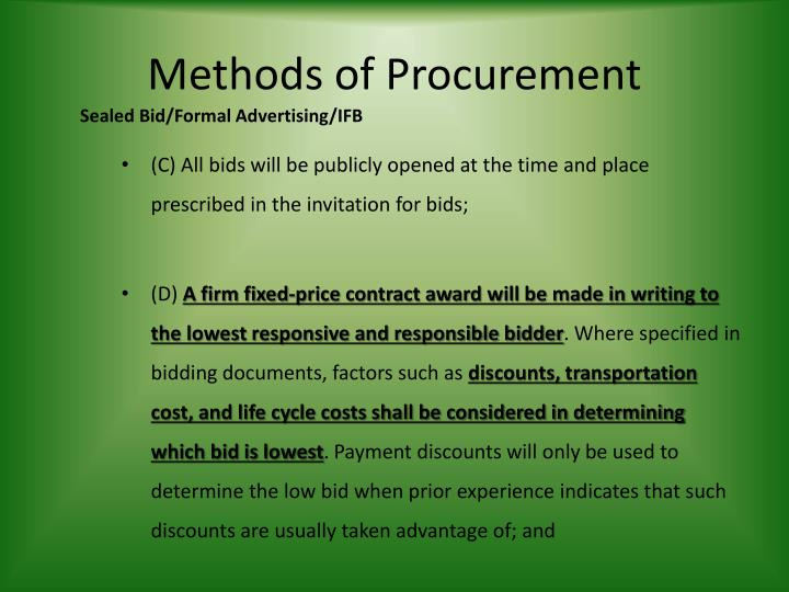 Methods of Procurement