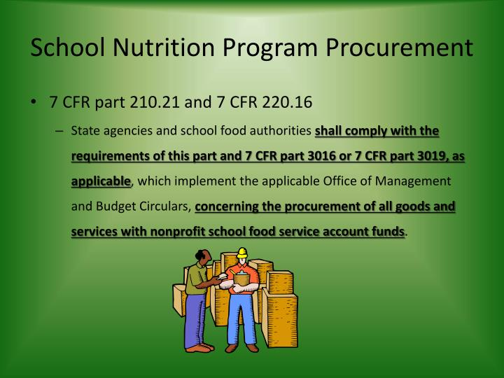School Nutrition Program Procurement