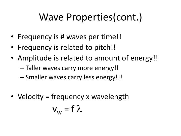 Wave Properties(cont.)