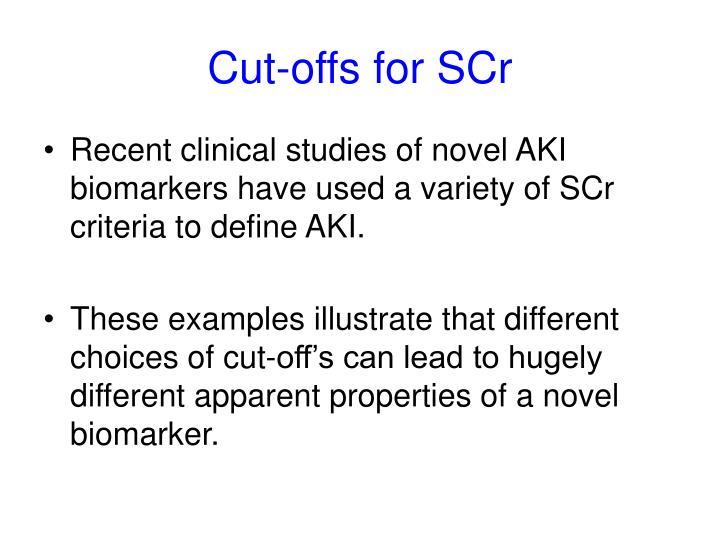 Cut-offs for SCr