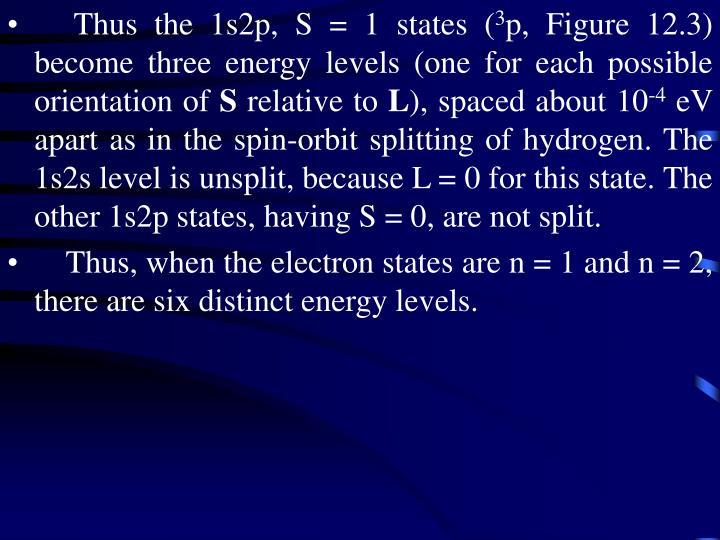 Thus the 1s2p, S = 1 states (