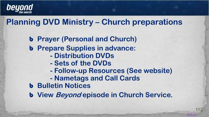 Planning DVD Ministry – Church preparations