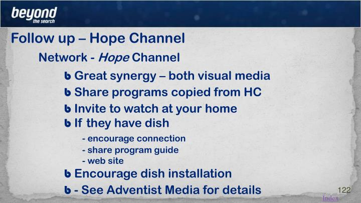 Follow up – Hope Channel