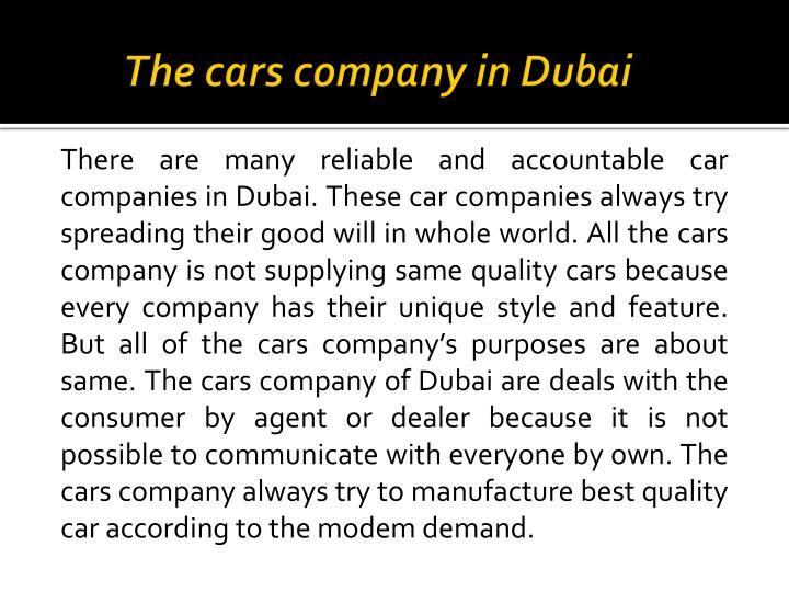 The cars company in Dubai