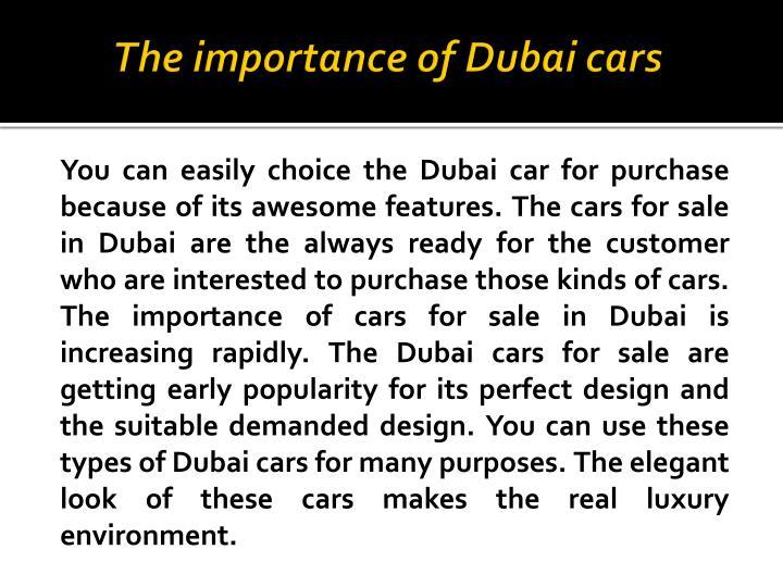 The importance of Dubai cars