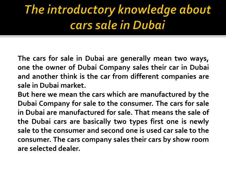 The introductory knowledge about cars sale in Dubai