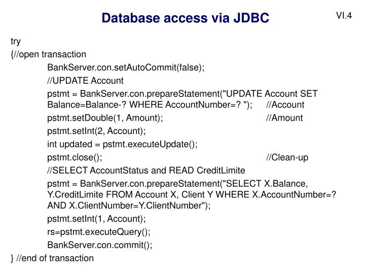 Database access via JDBC