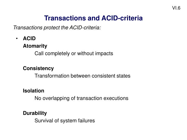 Transactions and ACID-criteria