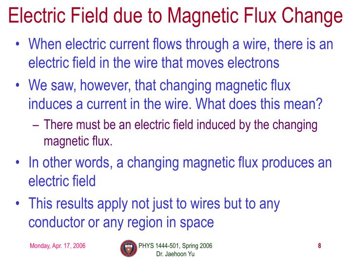 Electric Field due to Magnetic Flux Change