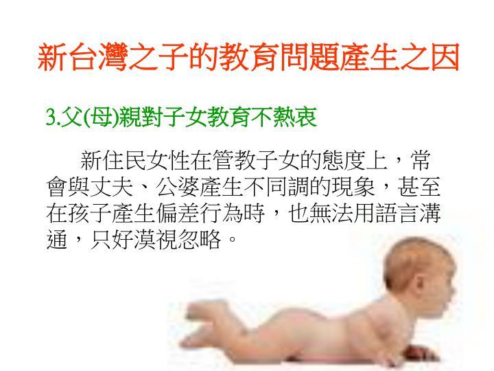 新台灣之子的教育問題產生之因