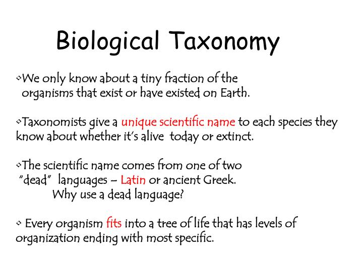 Biological Taxonomy