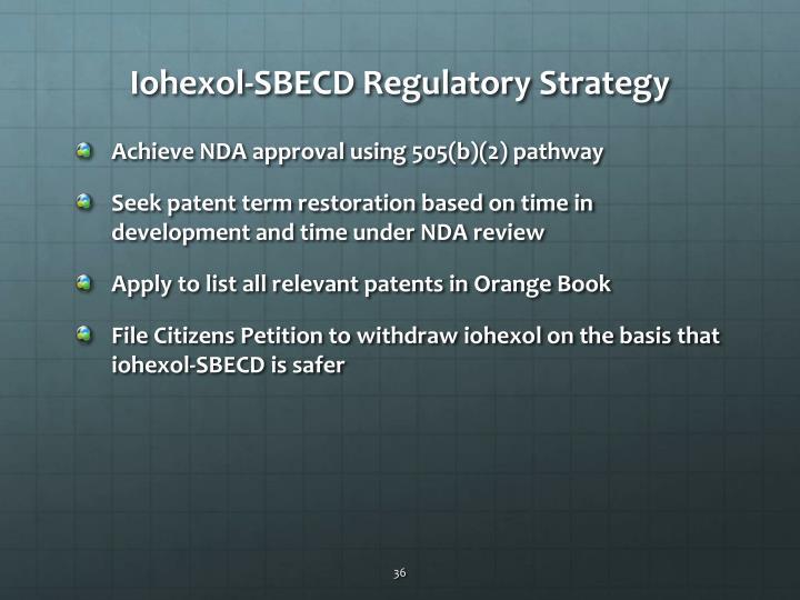 Iohexol-SBECD Regulatory Strategy