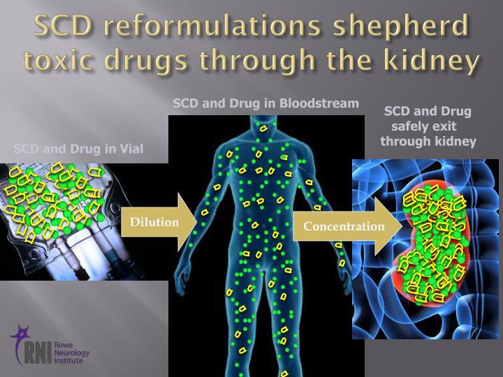 SCD reformulations shepherd toxic drugs through the kidney