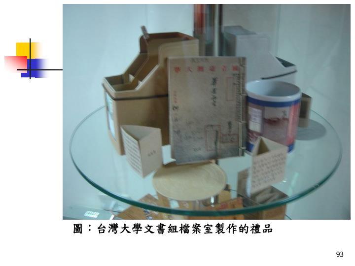 圖:台灣大學文書組檔案室製作的禮品