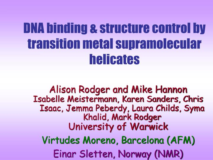 DNA binding & structure control by transition metal supramolecular helicates