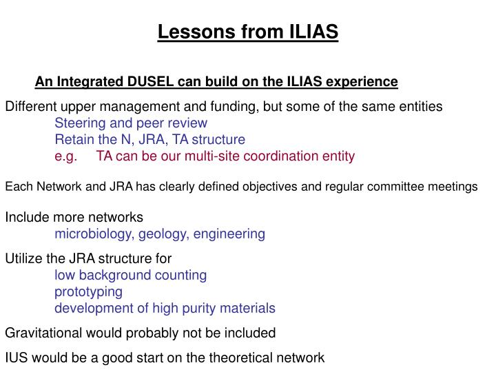 Lessons from ILIAS