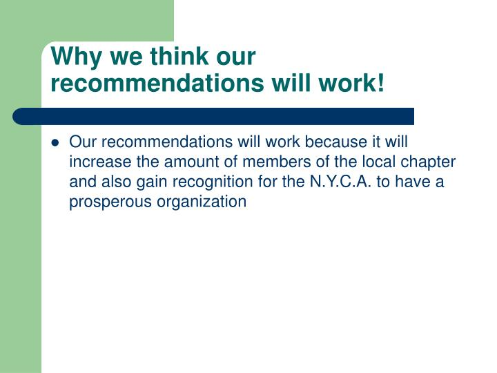 Why we think our recommendations will work!