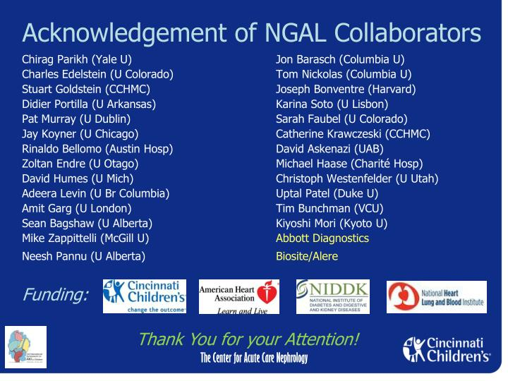 Acknowledgement of NGAL Collaborators