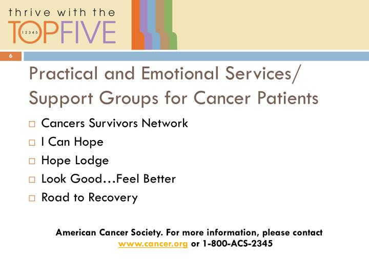 Practical and Emotional Services/ Support Groups for Cancer Patients