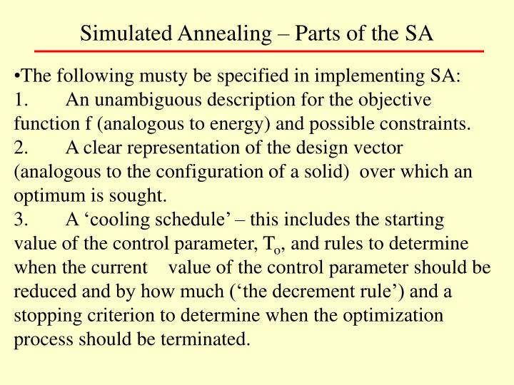 Simulated Annealing – Parts of the SA
