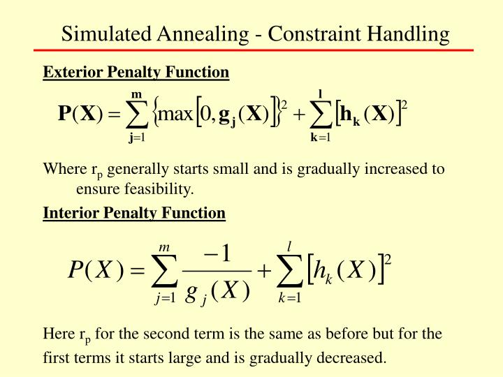 Simulated Annealing - Constraint Handling