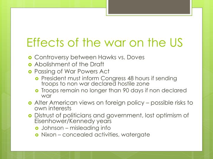 Effects of the war on the US