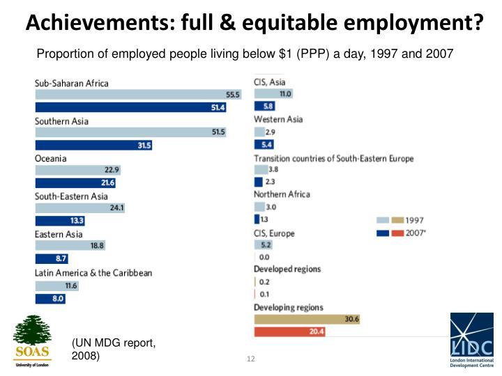 Achievements: full & equitable employment?