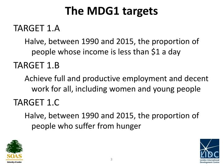 The MDG1 targets