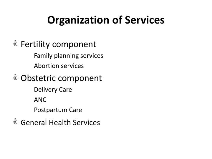 Organization of Services