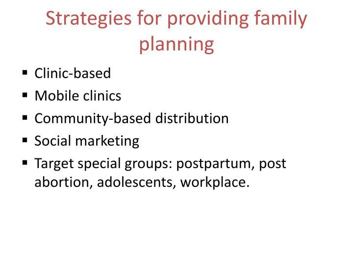 Strategies for providing family planning