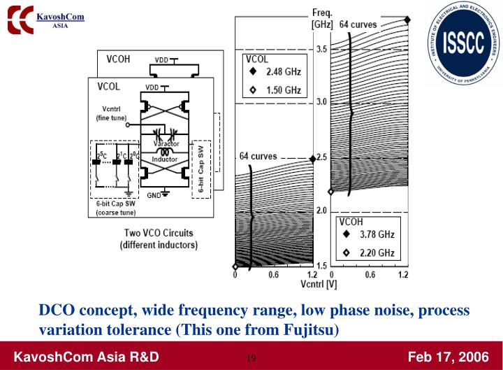 DCO concept, wide frequency range, low phase noise, process