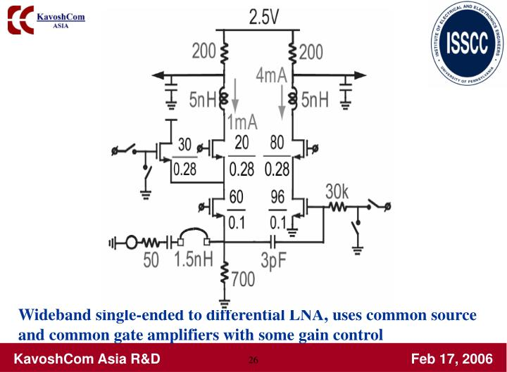 Wideband single-ended to differential LNA, uses common source