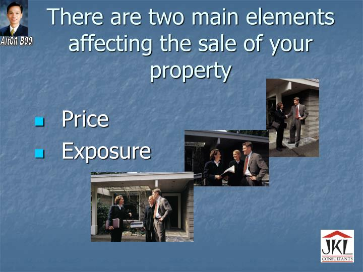 There are two main elements affecting the sale of your property