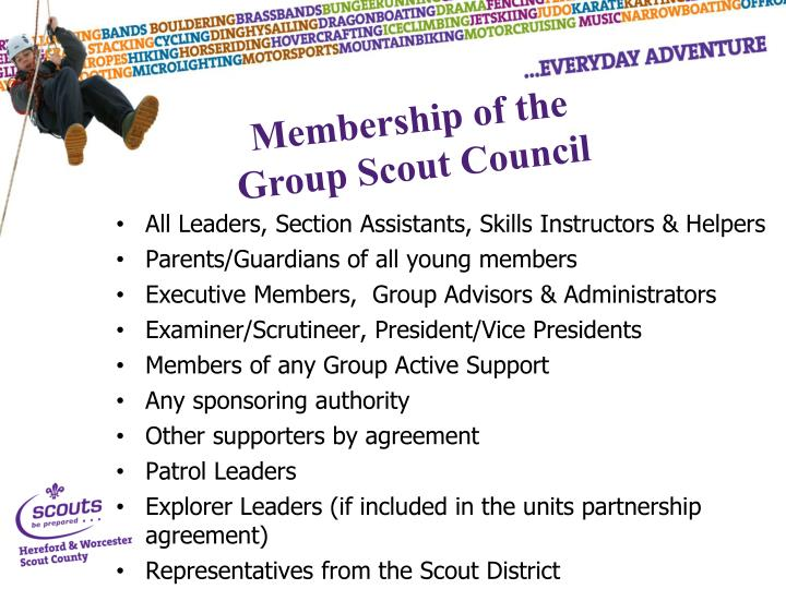 All Leaders, Section Assistants, Skills Instructors & Helpers