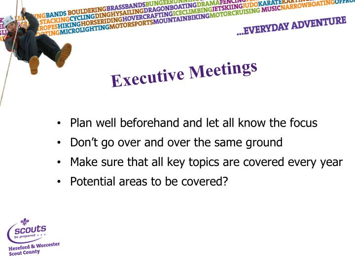 Plan well beforehand and let all know the focus