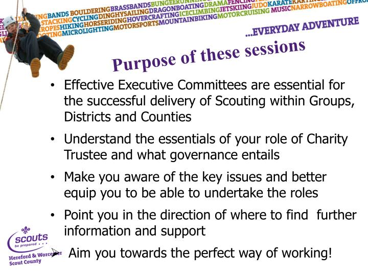 Purpose of these sessions