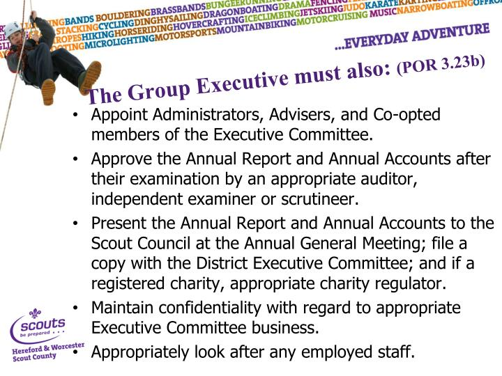 The Group Executive must also: