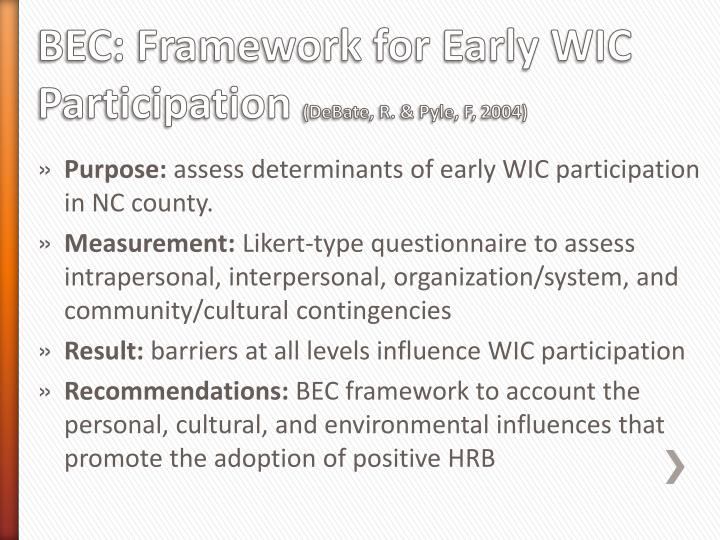 BEC: Framework for Early WIC Participation