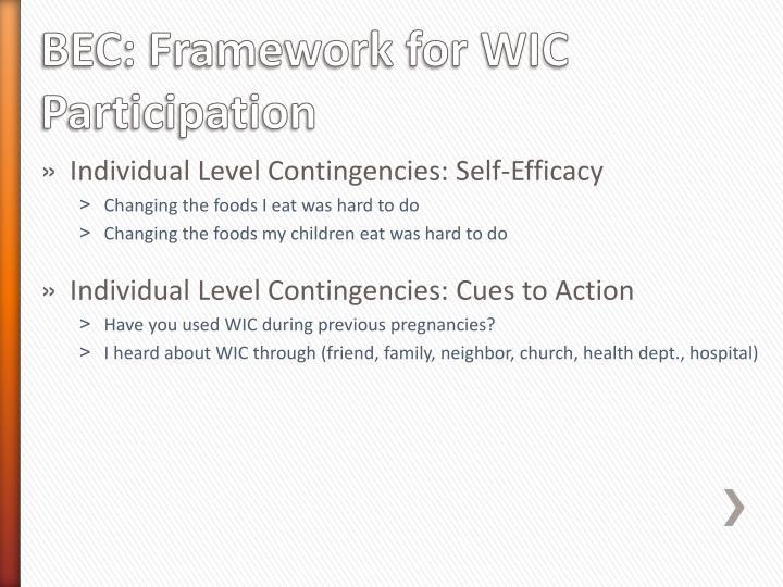 BEC: Framework for WIC Participation