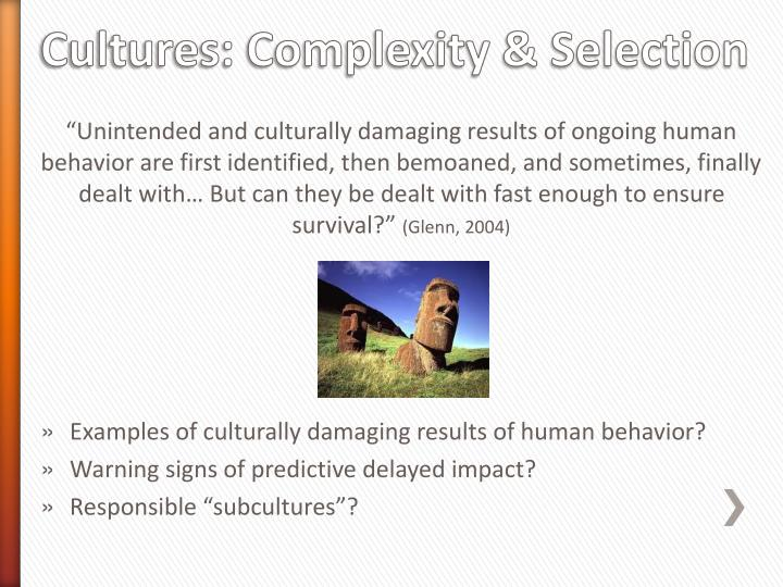 Cultures: Complexity & Selection
