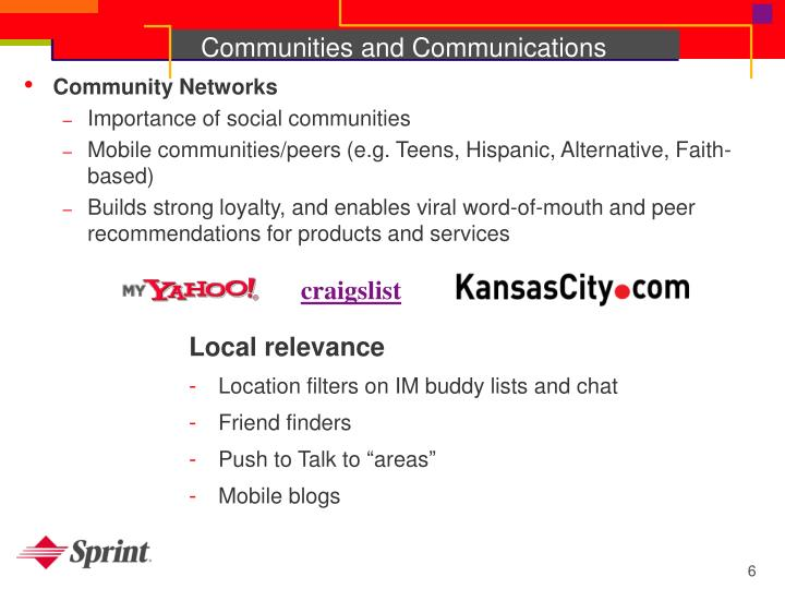 Communities and Communications