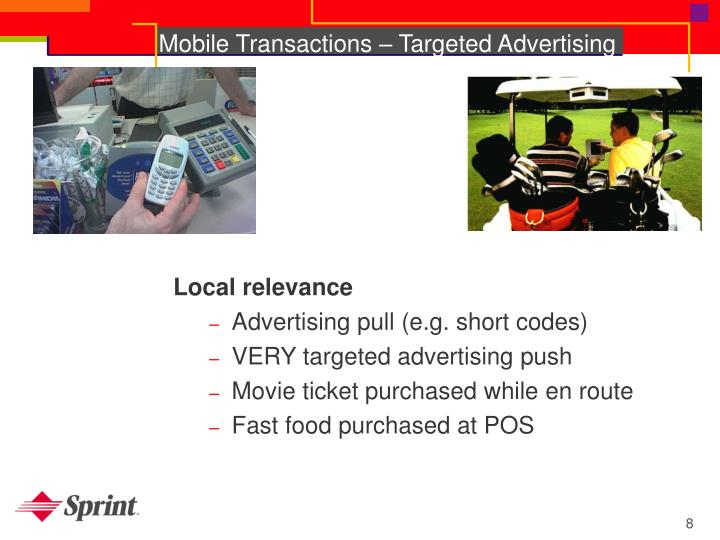 Mobile Transactions – Targeted Advertising