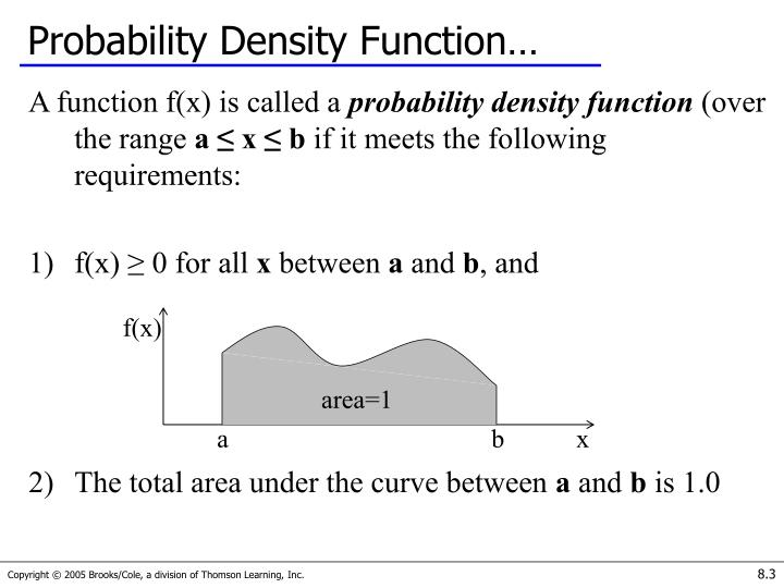 Probability Density Function…