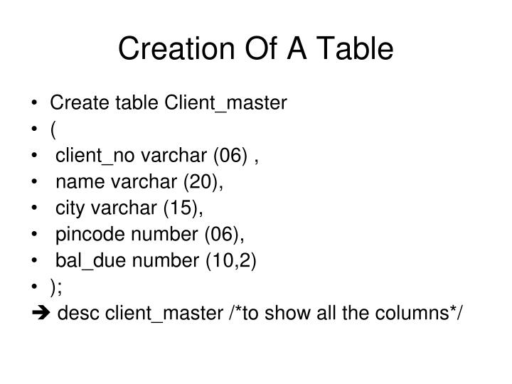 Creation Of A Table