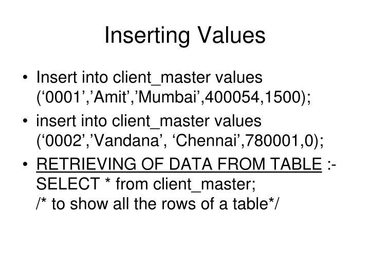 Inserting Values
